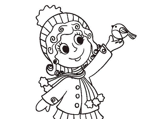 Dibujo de Niña y pajarito en invierno para Colorear