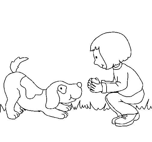 Dibujo de Niña y perro jugando para Colorear