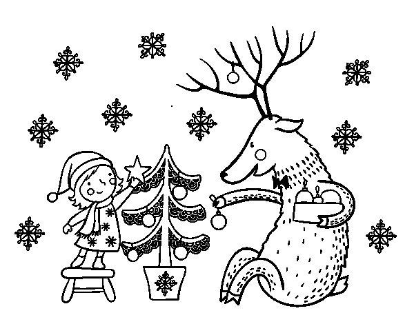 Dibujo de Niña y reno para Colorear