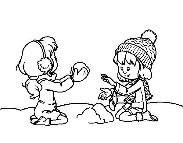 Dibujo De Niñas Jugando Con La Nieve Para Colorear