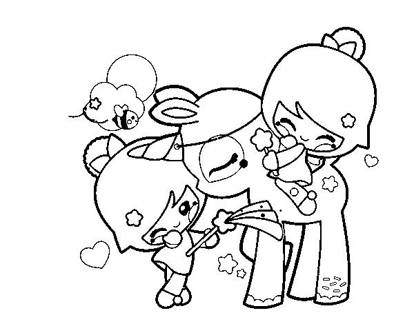 Dibujo De Niñas Y Unicornio Kawaii Para Colorear