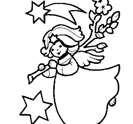 Dibujo de Ninfa navideña para Colorear