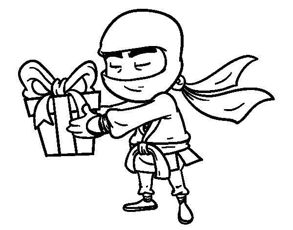 Dibujo de Ninja con un regalo para Colorear