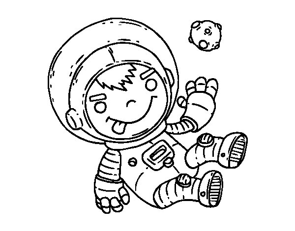 Dibujo de Niño astronauta para Colorear
