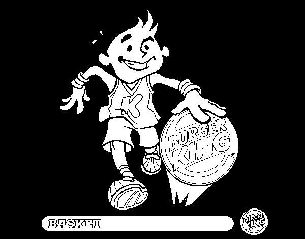Dibujo de Niño-Básquet para Colorear