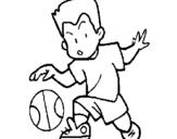 Dibujo de Niño botando la pelota para colorear
