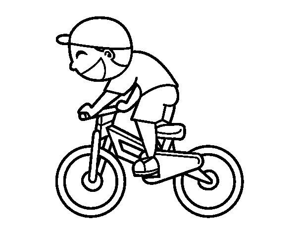 Dibujo de Niño ciclista para Colorear