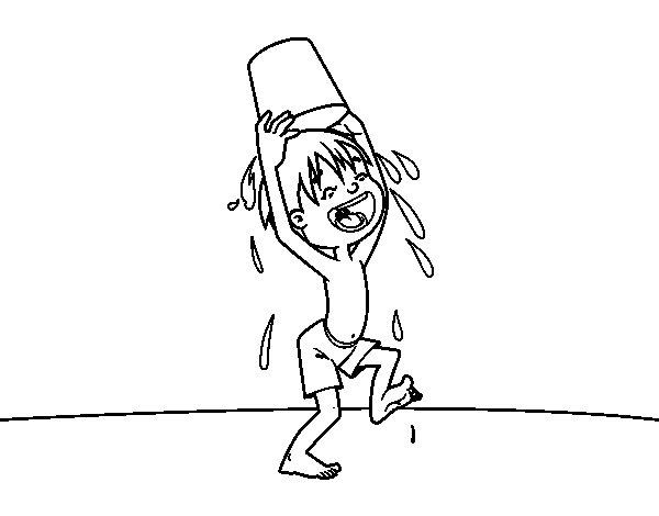 Dibujo de Niño con cubo de agua para Colorear