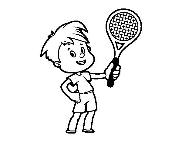 Dibujo De Niño Con Raqueta Para Colorear