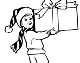 Dibujo de Niño con un enorme regalo para colorear