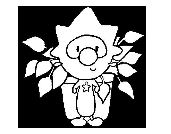 Dibujo de Niño con una planta para Colorear