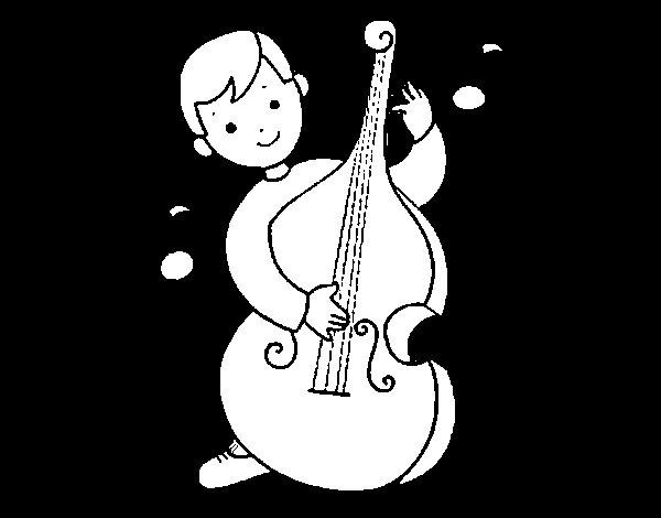 Dibujo de Niño con violonchelo para Colorear