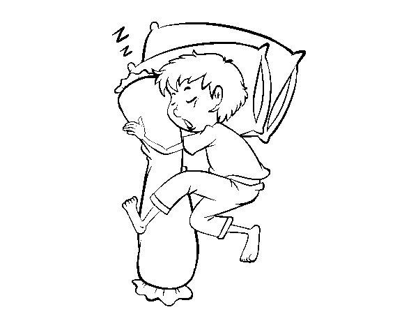 Dibujo de Niño durmiendo para Colorear
