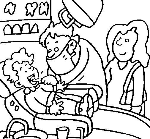Dibujo de Niño en el dentista para Colorear