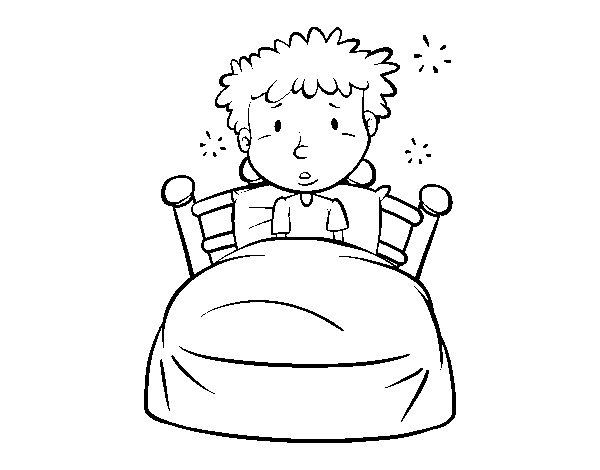 Dibujo de Nio en la cama para Colorear  Dibujosnet