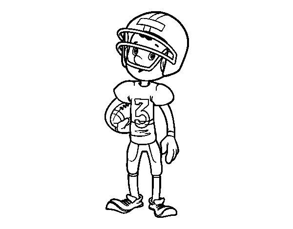 Dibujo de Niño jugador de rugby para Colorear