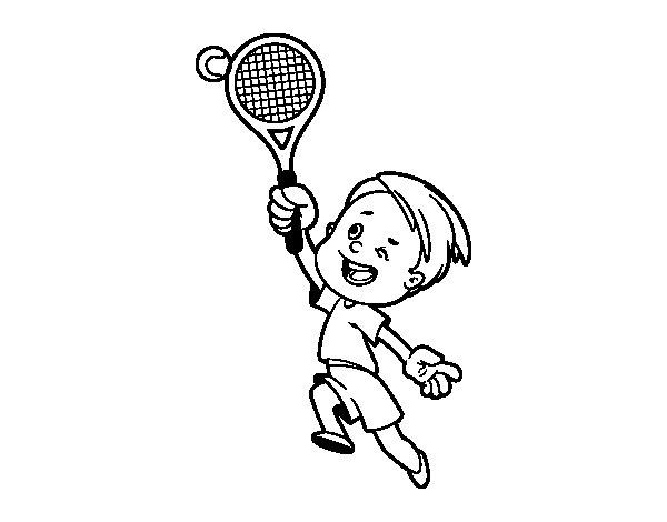 Dibujo De Niño Jugando A Tenis Para Colorear