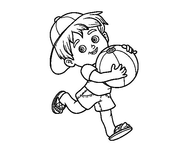Niño Dibujo Para Colorear: Dibujo De Niño Jugando Con Balón De Playa Para Colorear