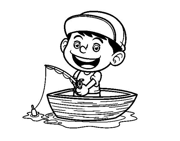 Dibujo de Niño pescando para Colorear