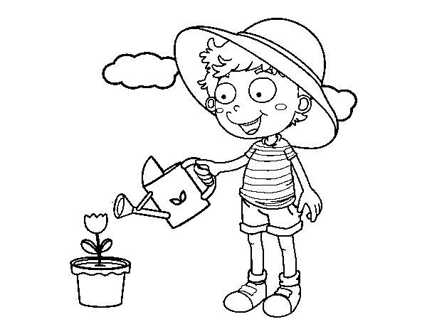 Dibujo de Nio regando para Colorear  Dibujosnet