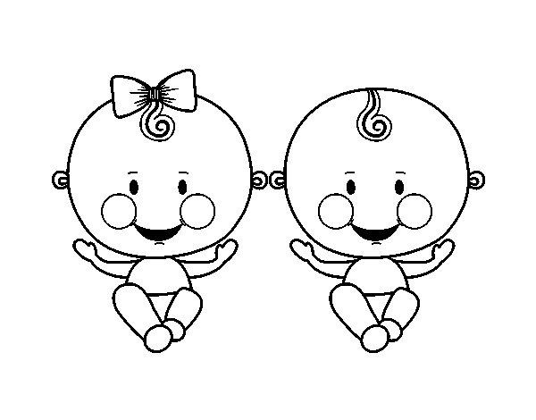 Dibujo de Niño y niña gemelos para Colorear