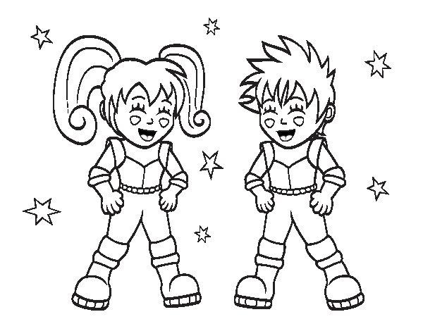 Dibujo de Niños astronautas para Colorear