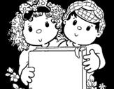 Dibujo de Niños con libros para colorear