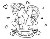 Dibujo de Niños de San Valentín para colorear