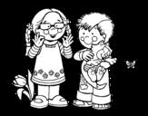 Dibujo de Niña y niño