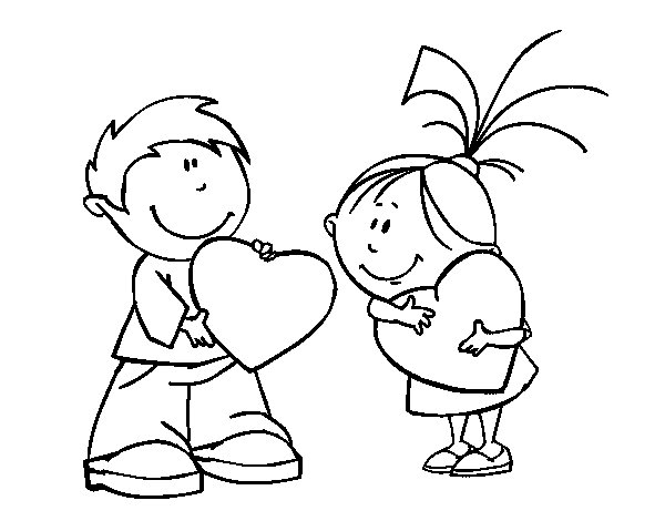 Dibujo de Niños en San Valentín para Colorear - Dibujos.net