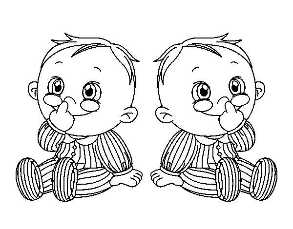 Dibujo de Niños gemelos para Colorear