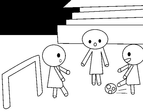 Dibujo de Niños jugando a futbol para Colorear