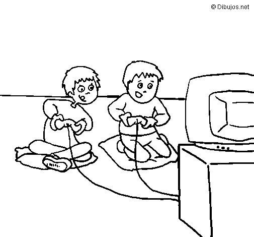 Dibujo de Niños jugando para Colorear