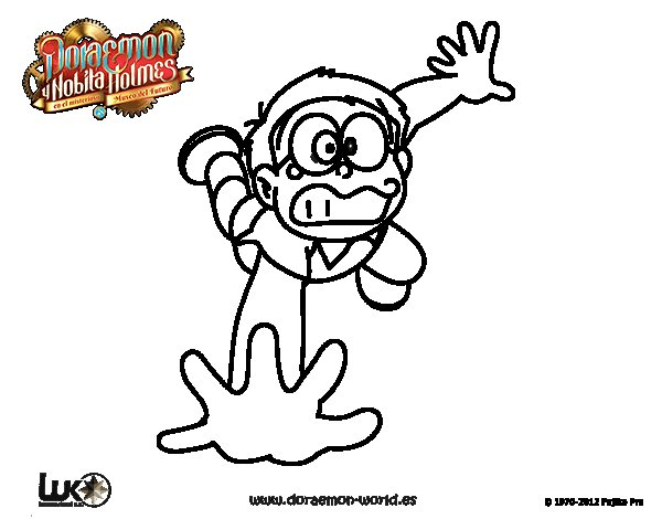 Dibujo de Nobita cayéndose para Colorear