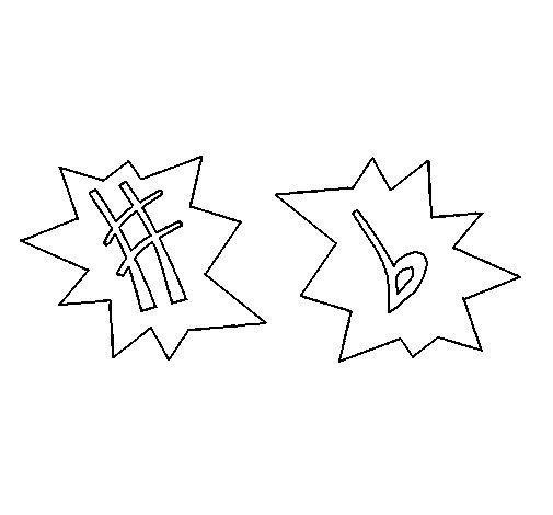 Dibujo de Notas musicales 1 para Colorear