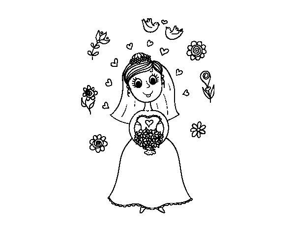 Dibujo de Novia con flores para Colorear