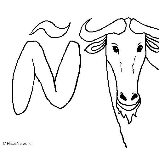 Dibujo de Ñu para Colorear