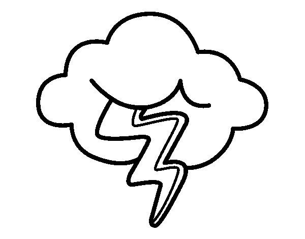 Dibujo de Nube con rayo para Colorear