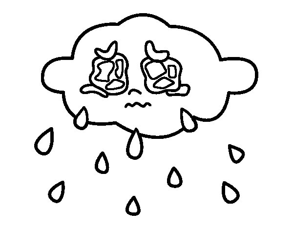 Dibujo de Nube llorando para Colorear