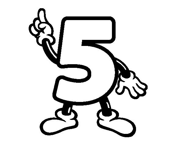 Dibujo de Número 5 para Colorear