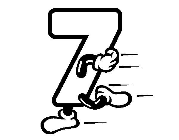 Dibujo de Número 7 para Colorear