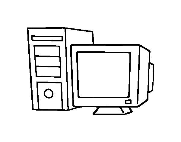 Dibujos Animados Para Colorear En El Ordenador: Dibujo De Ordenador Antiguo Para Colorear