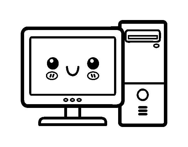 Dibujo de ordenador de sobremesa para colorear - Como hacer una mesa de ordenador ...