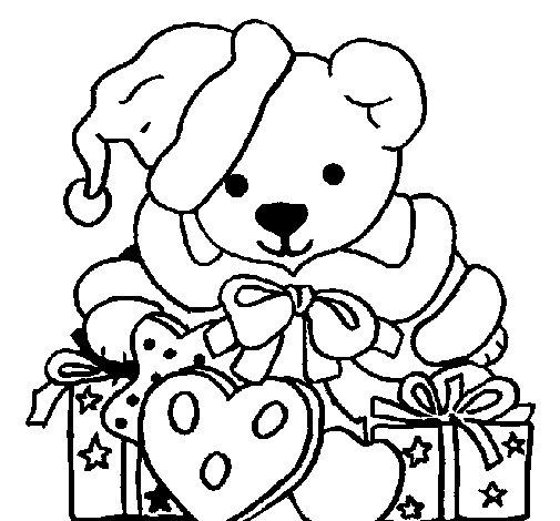 Dibujo de Osito con gorro navideño para Colorear