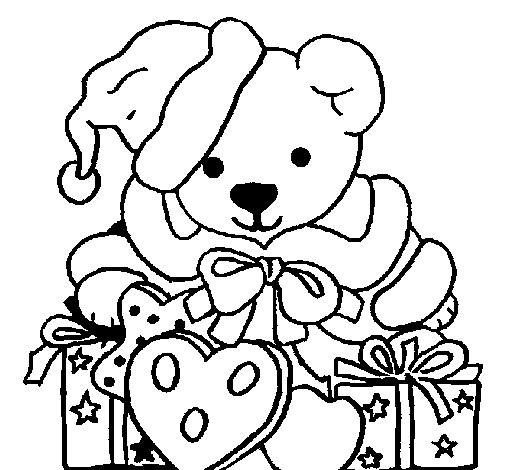 Dibujo de osito con gorro navide o para colorear - Dibujos navidenos para imprimir y colorear ...