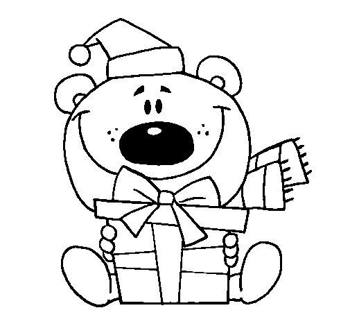 Dibujo de Osito con un regalo 1 para Colorear  Dibujosnet