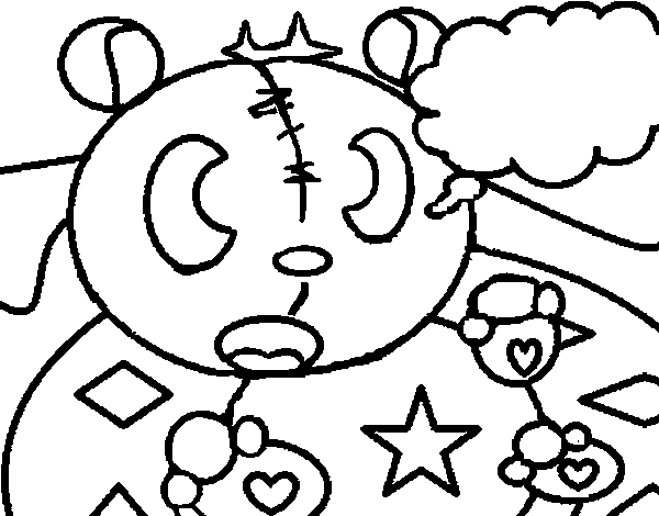 Dibujo de Osito de figuras geométricas para Colorear