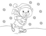 Dibujo de Osito patinando navideño para colorear
