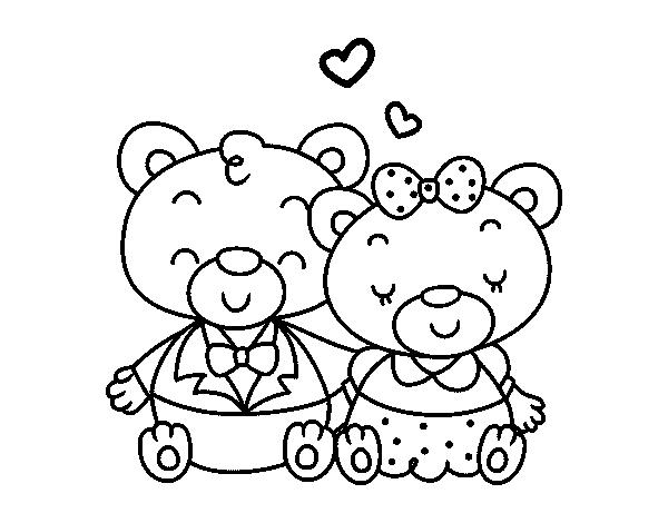 Dibujos Osos Amorosos Para Colorear E Imprimir: Dibujo De Ositos Enamorados Para Colorear