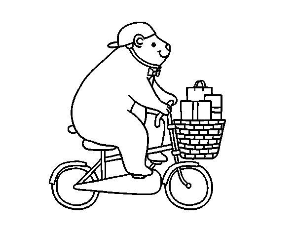 Dibujo de Oso ciclista para Colorear
